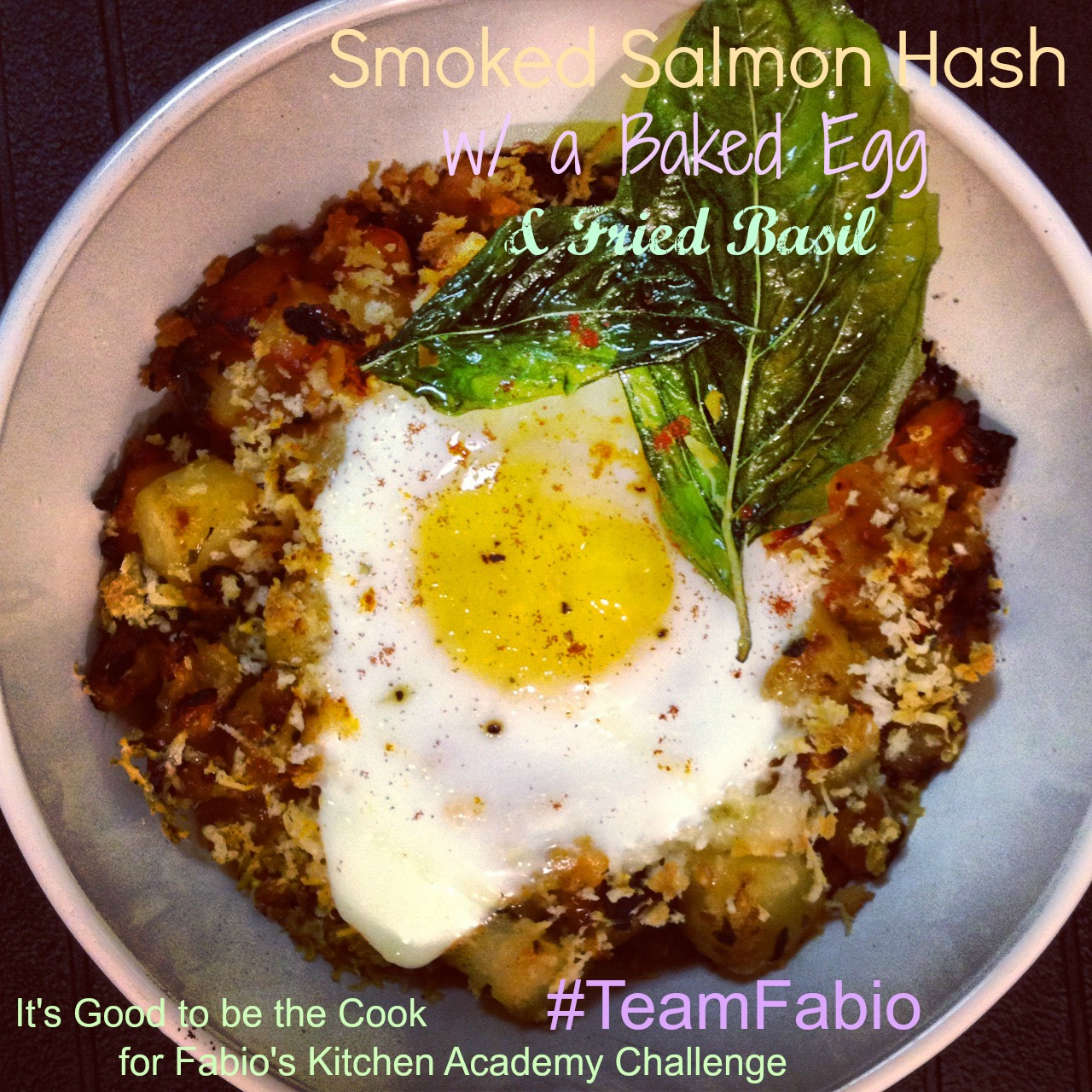 ... at 1280 × 1280 in Smoked Salmon Hash w/ a Baked Egg and Fried Basil