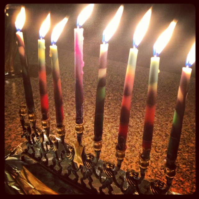 We finally got to use my pretty Chanukah candles!