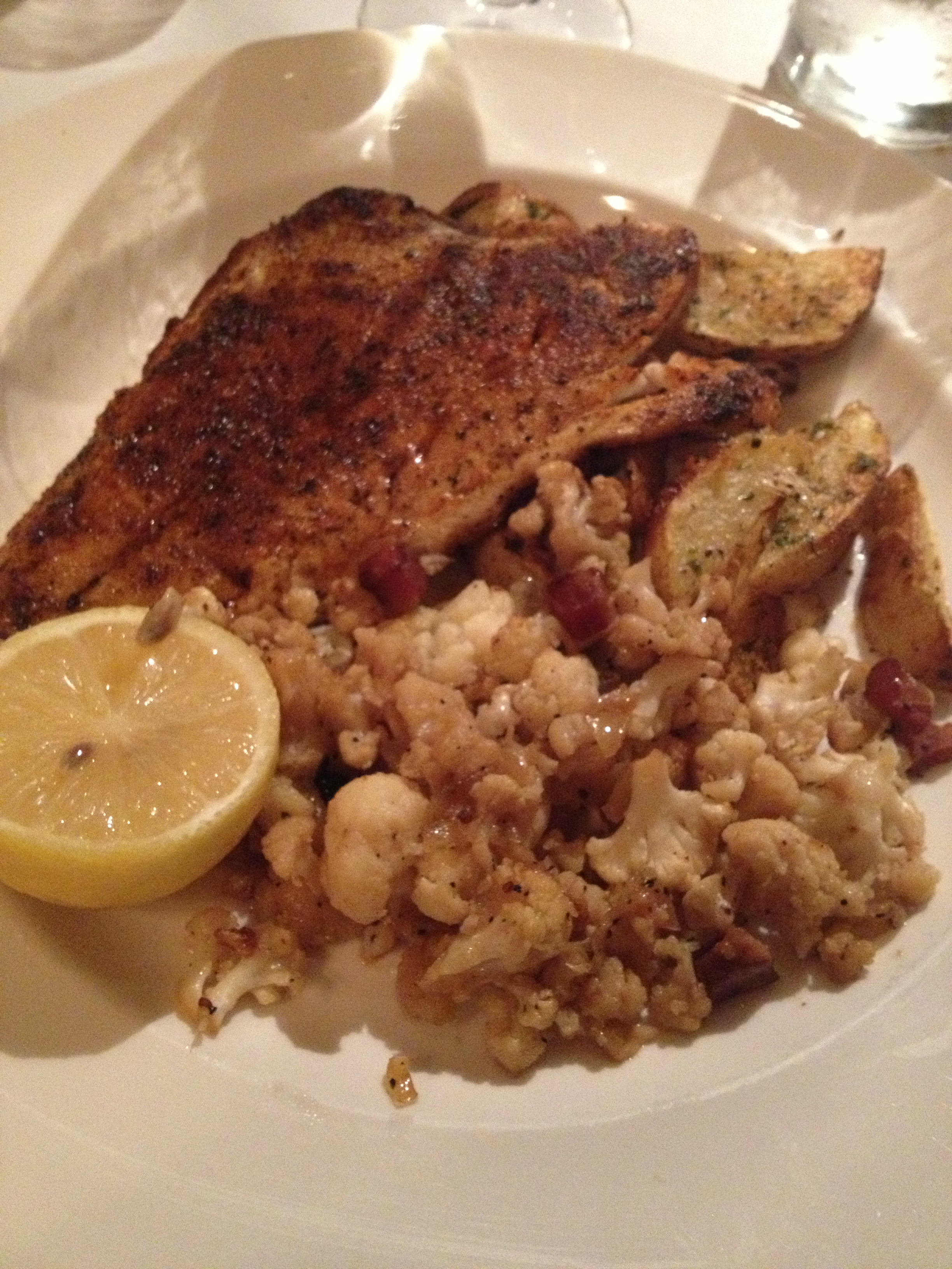 The Red Snapper (blackened) with Roasted Cauliflower and Potatoes