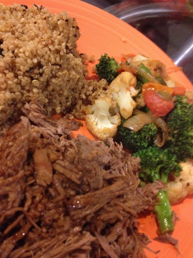 The beef and sauce went great with the stir fried veggies and organic quinoa