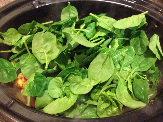 I LOVE spinach, so I just threw a whole bunch on there.  It's also so healthy!