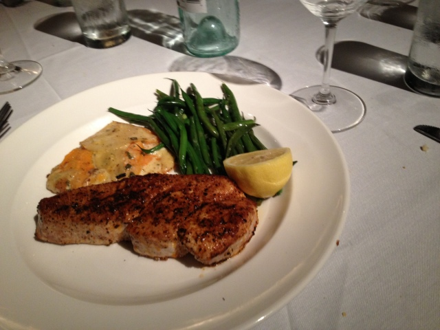 The Opah with Sweet Potato Gratin (OMG) and Green Beans