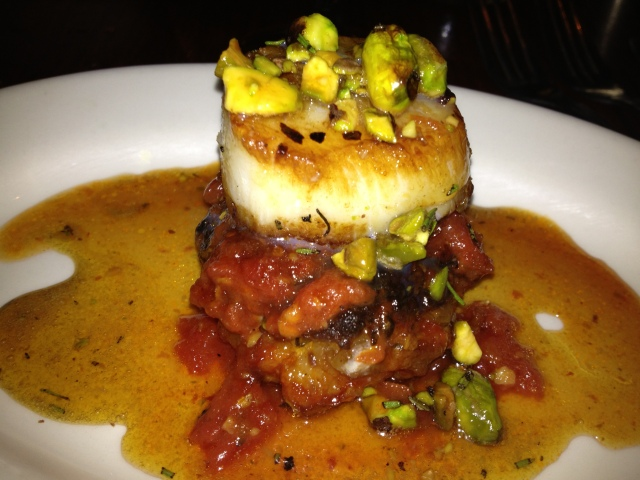 The daily special- Pork Belly Meatball, Scallop, Pistachio, SMOKED Maple Sauce.  MMM!