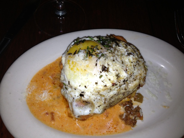 Fresh Pasta w/ Meat Sauce Lasagna topped with the most perfectly fried egg.