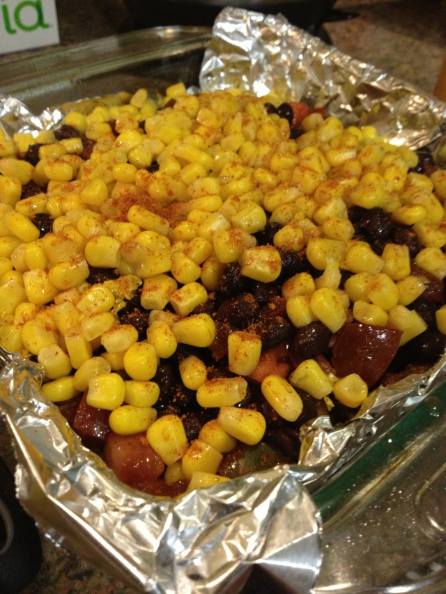 Black Beans, Corn, and some Cayenne for good measure