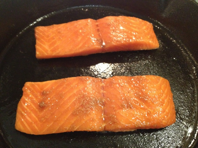 I was so excited to have zero sticking problems with my cast iron skillet!  It cooked the salmon perfectly.