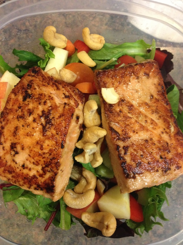 I made all four fillets so Dave and I could have a nice hearty lunch- salmon over a salad on our big workout day.