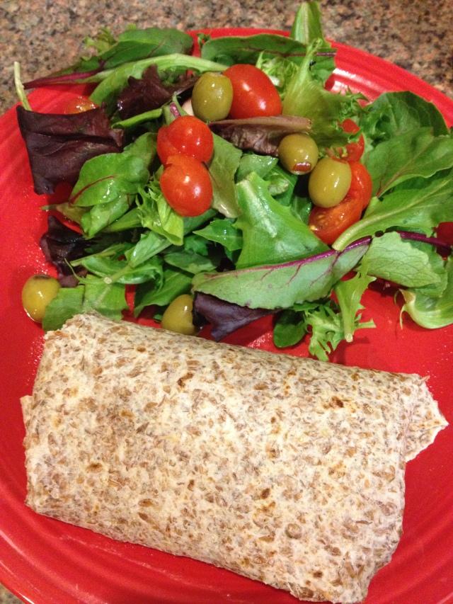 A Sloppy Joe wrap and a side salad