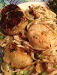 Seared Scallops and Shrimp over Creamy Linguine