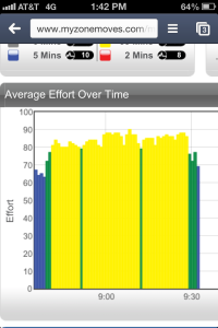 Here's what a Kickboxing class looks like on the MyZone system.  Blue to Green to Yellow is least to most effort exerted.  Great workout, right?