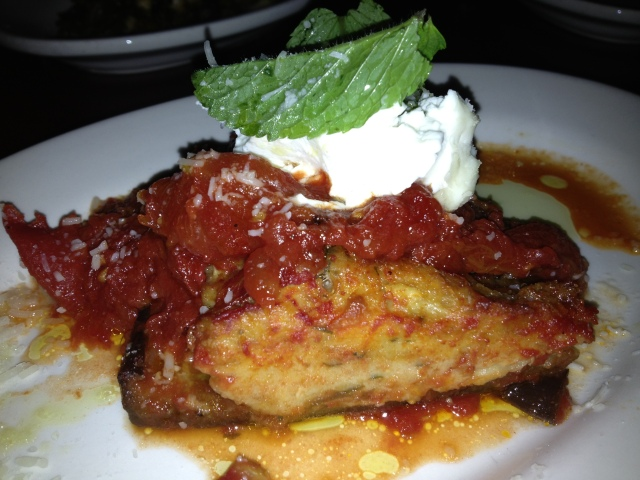 Melanzana Ripiena:  Tomato Braised Stuffed Eggplant, Molise Style, Mint, House-Made Ricotta