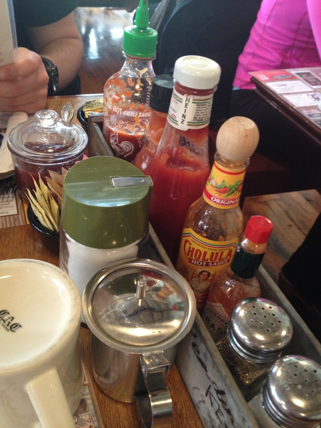 Look at all the condiments!! We were in heaven.
