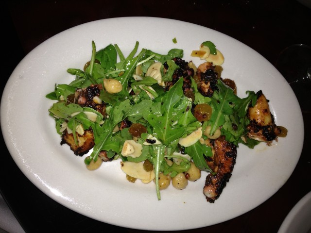 Polpo:  Grilled Ocopus, Spicy Chick Peas, Raisins, Almonds, Lemon, Arugula