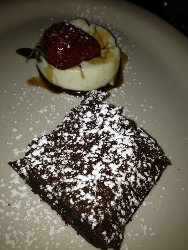 Flourless Chocolate Cake & Basil Panna Cotta