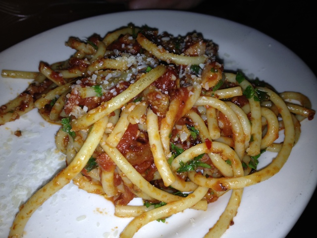 Bucatini Amatriciana:  Thick, hollow Spaghetti, Pancetta, Spicy Plum Tomato, Pecorino Romano