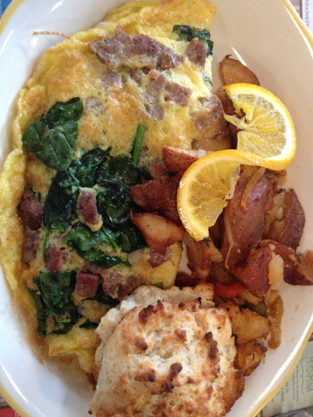 One of the best Omelets out there, I love when the toppings are mixed in and not just in the middle of the cooked egg.  Mine had Spinach, Sausage, and Cheese.