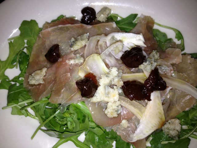 Carpaccio:  House-Cured Pork Loin, Crispy Gorgonzola, Cherry Fennel Compote