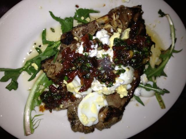 Agnello:  Grilled Lamb Shoulder Chop, Goat Feta, Date Gremolata, Dandelion, Hard Cooked Egg