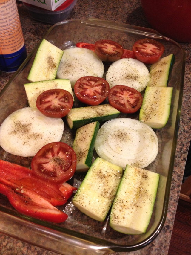 We grilled Zuchs, Onion, Bell Pepper, and Tomato Halves (which is my new fav thing)
