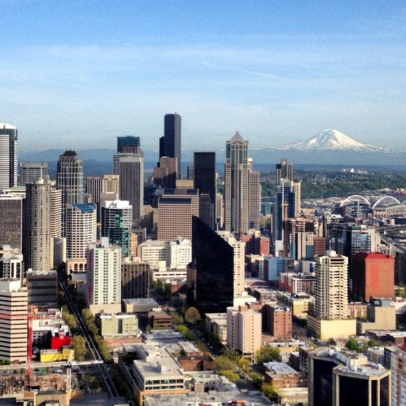 GORGEOUS view of Mt. Rainier from the Space Needle.