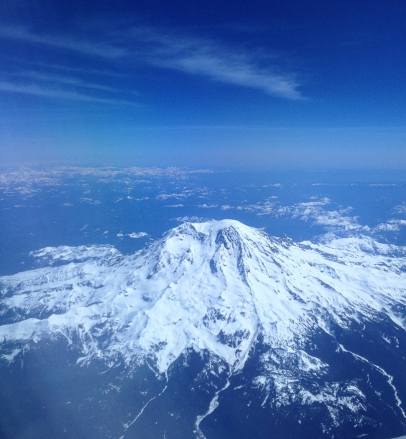 I woke up on the plane to this unbelievable view of Mt. Rainier... wow!