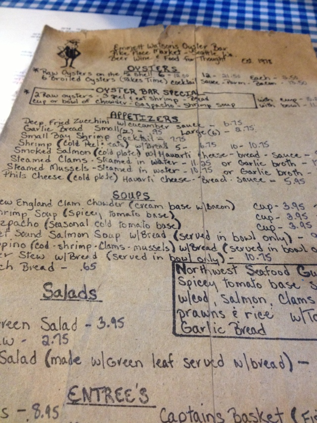 Watson's Oyster Bar menus are printed on brown paper bags.  Love.