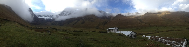 A panoramic of our view.  Even though we were FREEZING, sleeping in a cabin with this view was spectacular.  The hike to the lagoon at El Altar is to the left where the snow is!