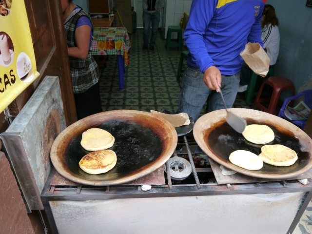 YUM!  The cheese inside was similar to feta- not stringy and just a tad salty.  These pancakes were crispy on the outside and piping hot!
