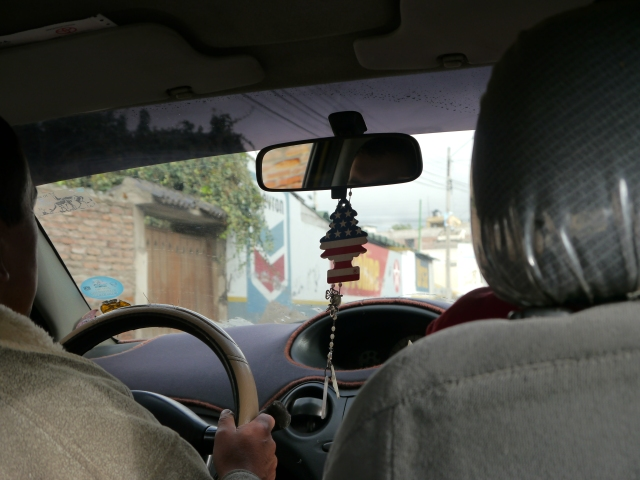 Loved this picture of the American flag in our cab in the middle of Ecuador.