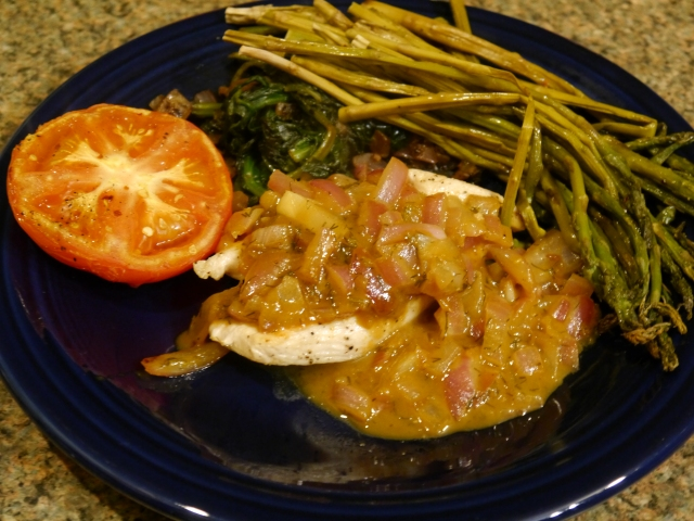 Served this with tons of veggies:  Roasted Asparagus, Roasted Tomato, and some Garlic Sauteed Spinach :)