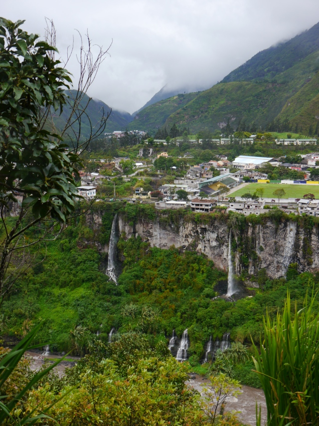 This is a view looking at the city of Banos.  So many waterfalls... gorgeous!