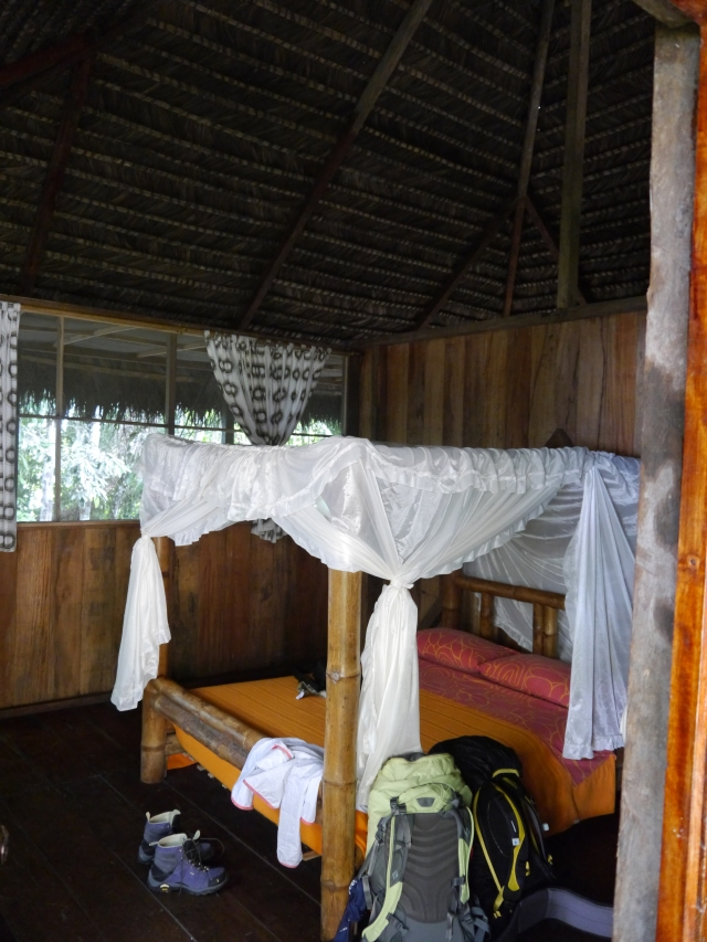 Our hut- actually my favorite of all of our accommodations!  Screened in with lots of fresh air, mosquito nets, really nice bathroom, and our very own hammock on the back deck!