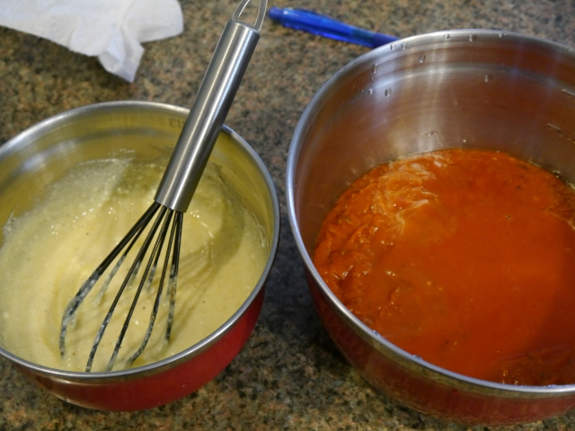 Sauce on the right, ricotta mixture on the left.