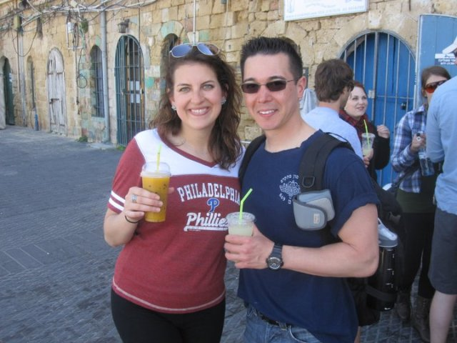 Regan and I enjoying fresh juice in Tel Aviv in Israel