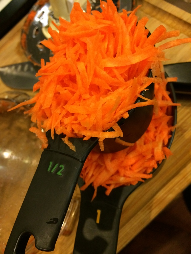 Lots of shredded carrots!  Thank goodness for our new food processor :)