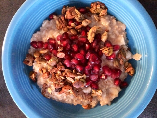 I also used the crunch in so many breakfasts.  This one I will share the recipe with you soon- SO GOOD!  Hot Multigrain Cereal w/ Pom and Crunch!
