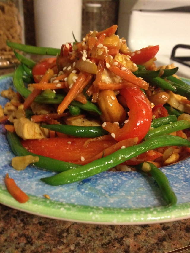 Finished product!  Usually, Dave and I like our asian stir-fries to be a little saucier, but this one is so flavorful, it's okay that it's not drenched, I promise!
