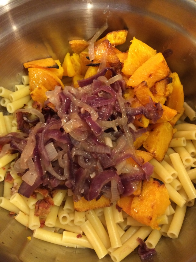 Pasta, Squash, Onions, ready to be tossed with the sauce